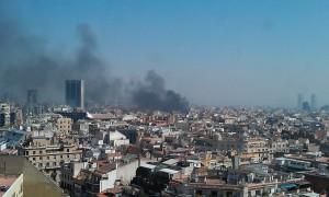 fire-balmes-calle-fuego-huelga-general-barcelona-2012